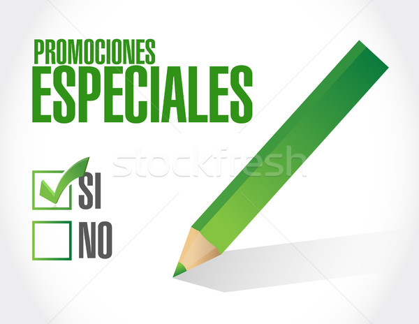 special promotions in Spanish approval sign Stock photo © alexmillos