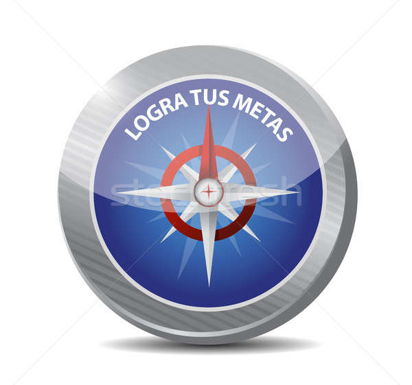 achieve your goals compass sign in Spanish. Stock photo © alexmillos