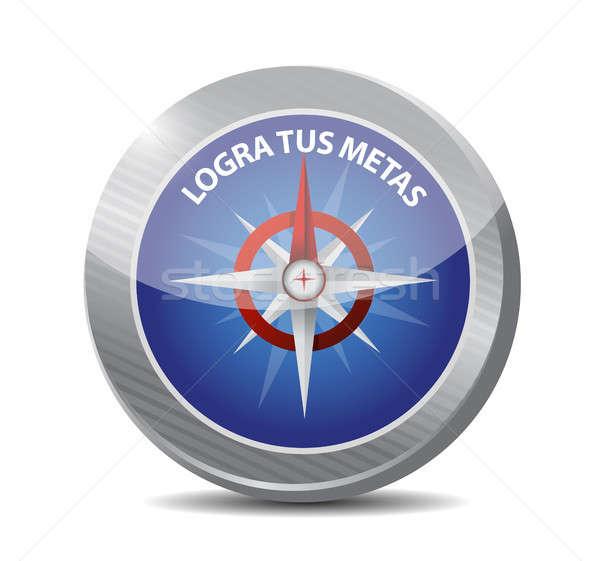 Doelen kompas teken spaans illustratie ontwerp Stockfoto © alexmillos