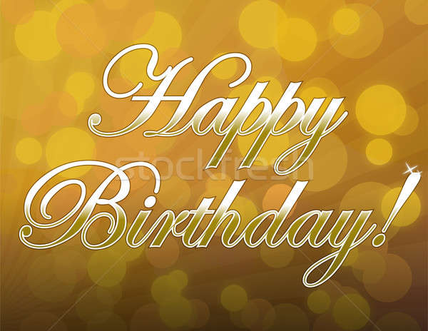 Happy Birthday gold card over beautiful party lights background. Stock photo © alexmillos