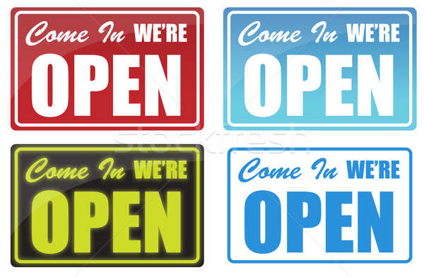 Various Come In We're Open sign. neon, blue, red. Stock photo © alexmillos