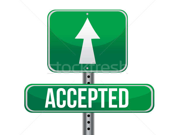 accepted road sign illustration design over a white background Stock photo © alexmillos
