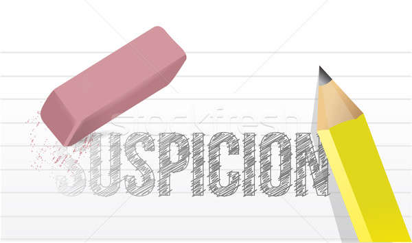 erasing suspicion concept illustration design over a white backg Stock photo © alexmillos
