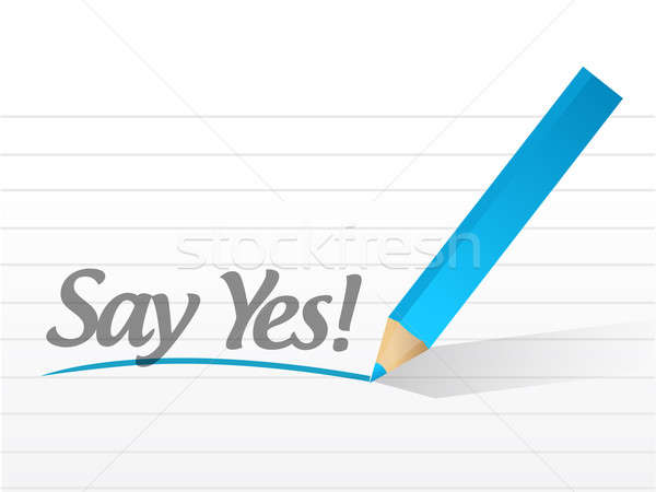 设计 / say yes written on   white paper illustration design图片