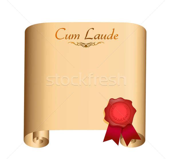 Cum Laude College graduation Diploma illustration design over wh Stock photo © alexmillos