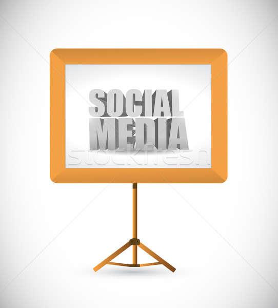 ソーシャルメディア にログイン ホワイトボード 実例 デザイン ビジネス ストックフォト © alexmillos