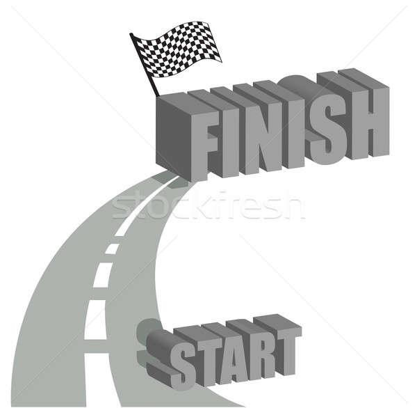 Inicio terminar carretera ilustración diseno blanco Foto stock © alexmillos