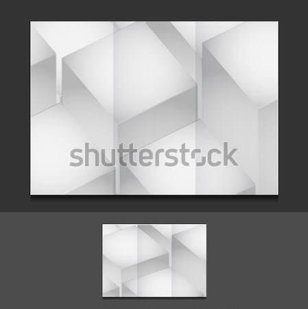 Prezentacji ulotka ilustracja projektu szary papieru Zdjęcia stock © alexmillos