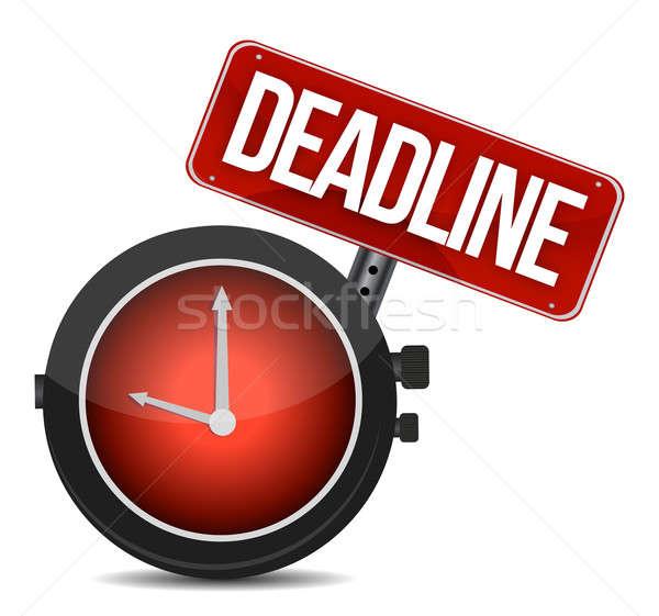 deadline watch sign illustration design over white Stock photo © alexmillos