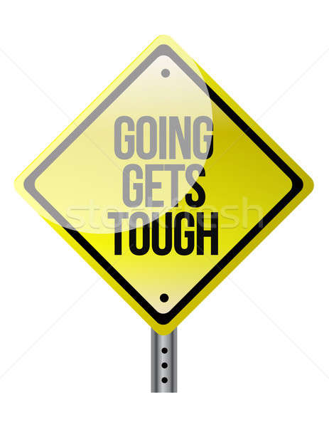 Conceptual road sign warning of tough times ahead illustration Stock photo © alexmillos