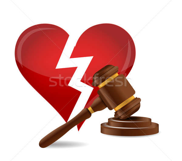 Gavel divorce concept illustration design over a white backgroun Stock photo © alexmillos