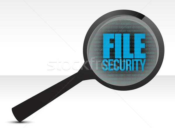 ストックフォト: 拡大鏡 · オプティカル · ガラス · 単語 · ファイル · セキュリティ