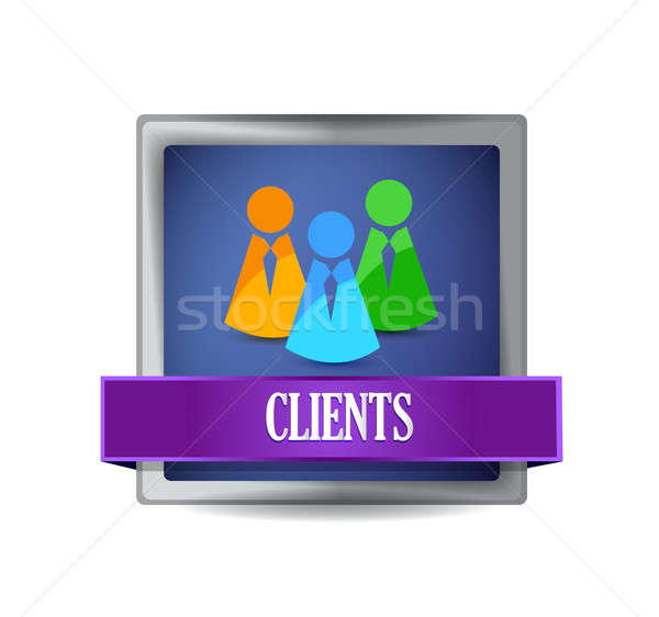 Clients glossy blue button illustration design  Stock photo © alexmillos