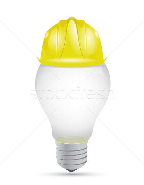 Idea light bulb under construction sign  Stock photo © alexmillos