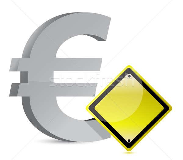euro warning yellow sign illustration design over white Stock photo © alexmillos