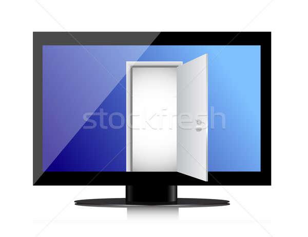 Enter into the monitor through the open door Stock photo © alexmillos