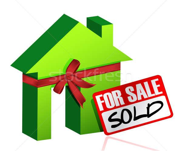 Miniatura domu podpisania sprzedany sprzedaży działalności Zdjęcia stock © alexmillos