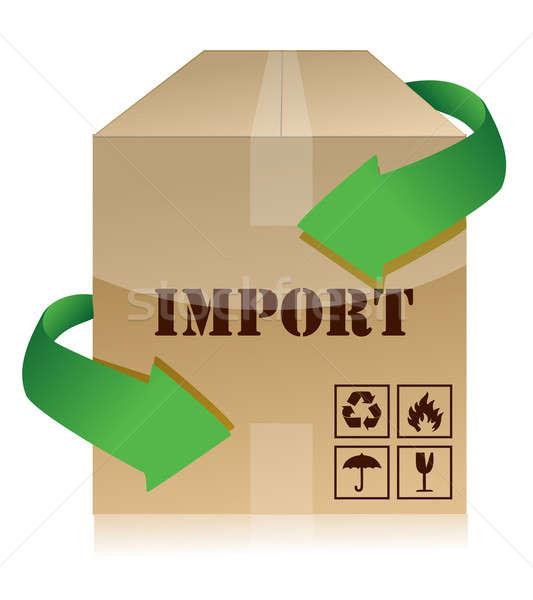 Import doboz zászló pénzügy bélyeg stock Stock fotó © alexmillos