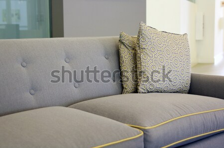 Interior design with couch and texture design cushions. Stock photo © alexmillos