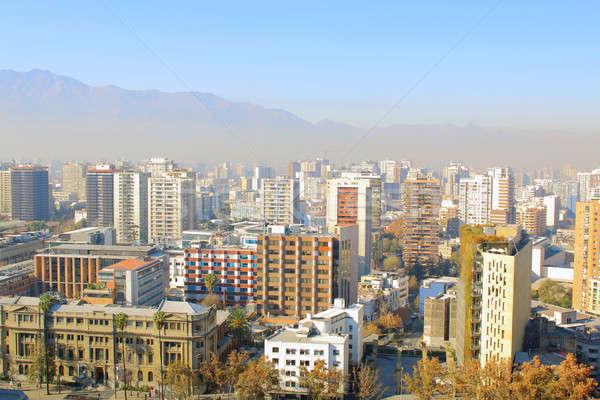 Santiago Chili panoramisch skyline centrum Stockfoto © alexmillos