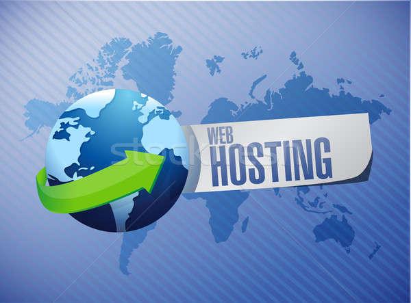 Internationale web hosting teken illustratie grafisch ontwerp Stockfoto © alexmillos