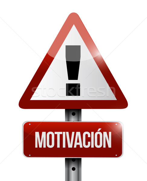 Motivation avertissement panneau routier espagnol illustration design Photo stock © alexmillos