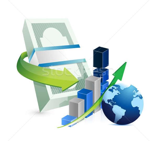 Internationale bedrijfsleven illustratie ontwerp witte papier financieren Stockfoto © alexmillos