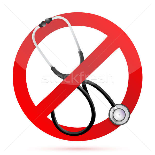 нет медицинской помочь знак стетоскоп иллюстрация Сток-фото © alexmillos