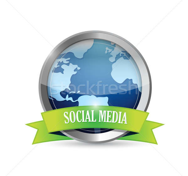 social media metallic seal illustration Stock photo © alexmillos