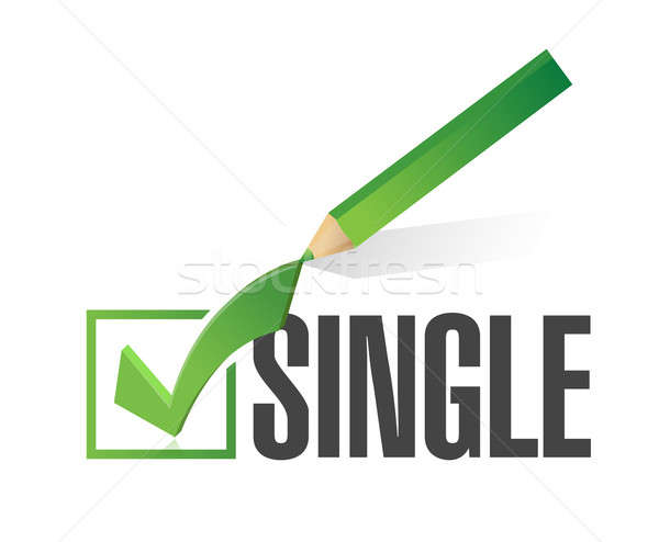 Stock photo: selected single with check mark. illustration