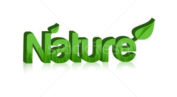 Natuur woord 3D gras binnenkant geïsoleerd Stockfoto © alexmillos