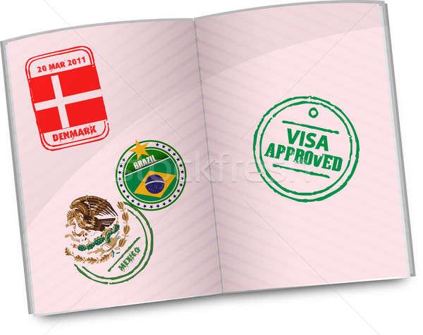 Passaporte aprovado visa carimbo papel quadro Foto stock © alexmillos