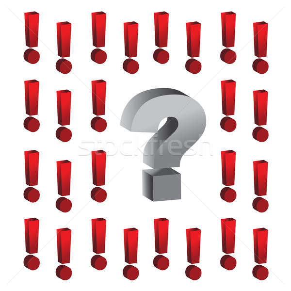 question mark around exclamation marks illustration design Stock photo © alexmillos