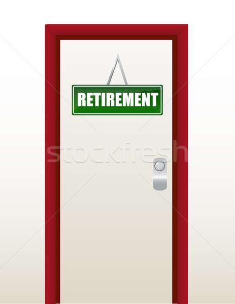 Kapı yeşil emeklilik imzalamak örnek dizayn Stok fotoğraf © alexmillos
