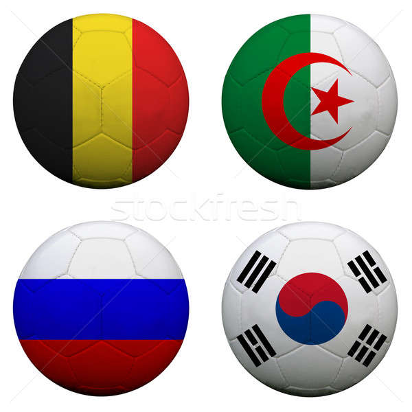 soccer balls with group H teams flags, Football Brazil 2014. iso Stock photo © alexmillos
