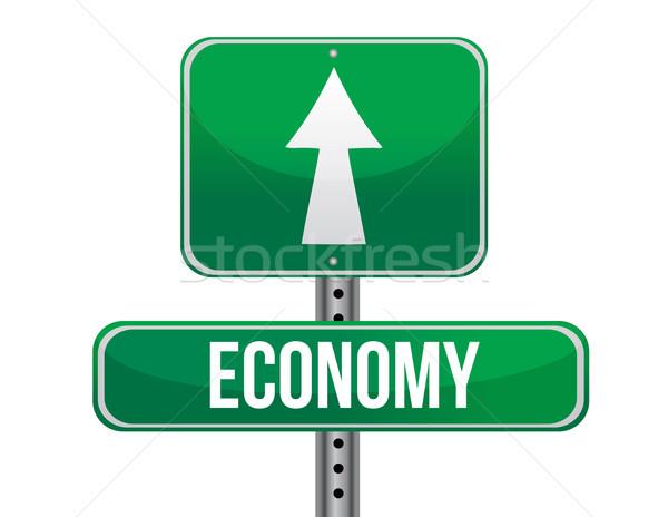 Economia cartello stradale illustrazione design bianco business Foto d'archivio © alexmillos