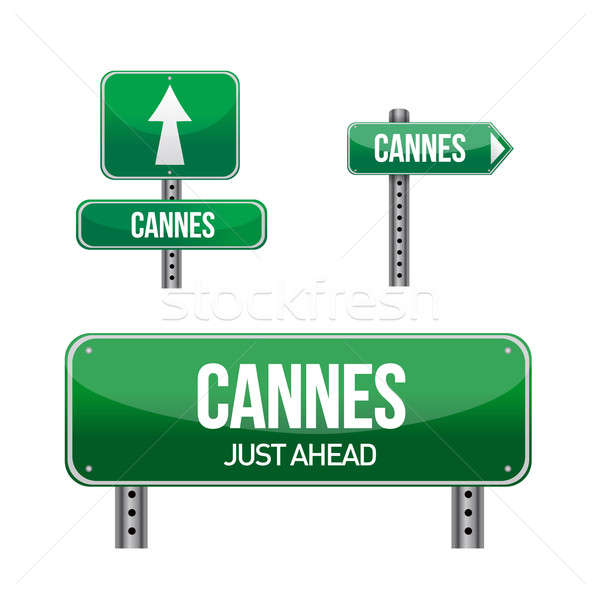 cannes city road sign illustration design over white Stock photo © alexmillos