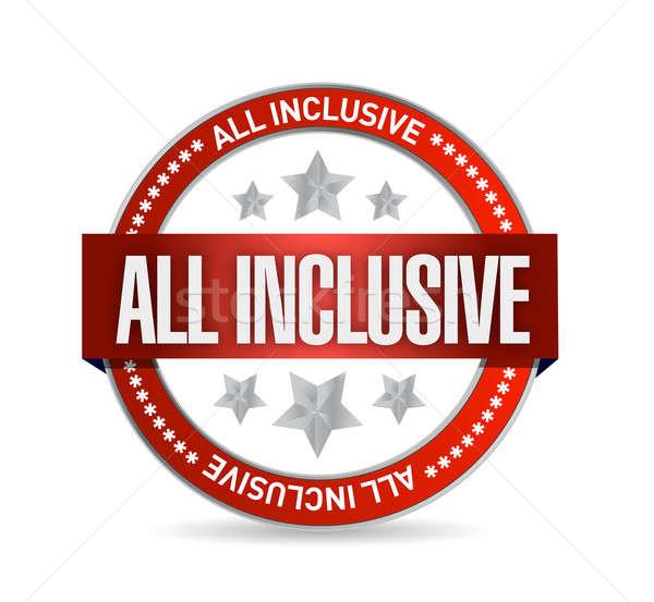 all inclusive seal illustration design over a white background Stock photo © alexmillos