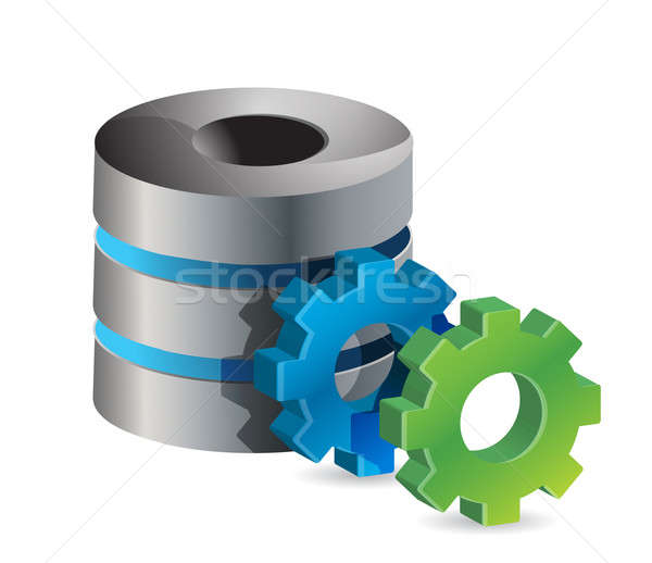 computer server and gears illustration design over white Stock photo © alexmillos