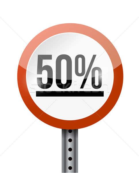 50 percentage road sign illustration design over a white backgro Stock photo © alexmillos