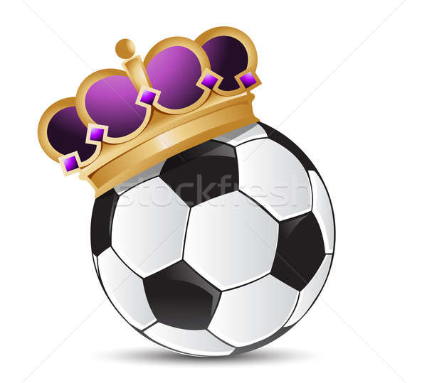 soccer ball with a crown illustration design over a white backgr Stock photo © alexmillos