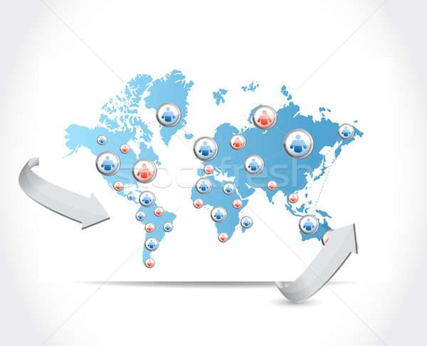 social network map illustration design over a white background Stock photo © alexmillos