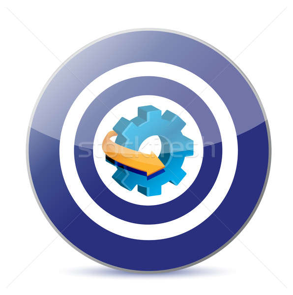 Stock photo: target industry concept gear illustration design over white