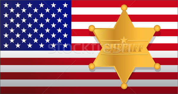 Sheriff star and us flag illustration design Stock photo © alexmillos