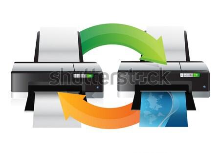 printer cycle graphic illustration design over a white backgroun Stock photo © alexmillos