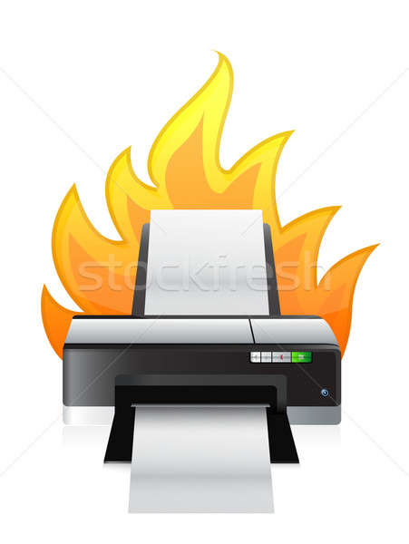 printer on fire illustration design over a white background Stock photo © alexmillos
