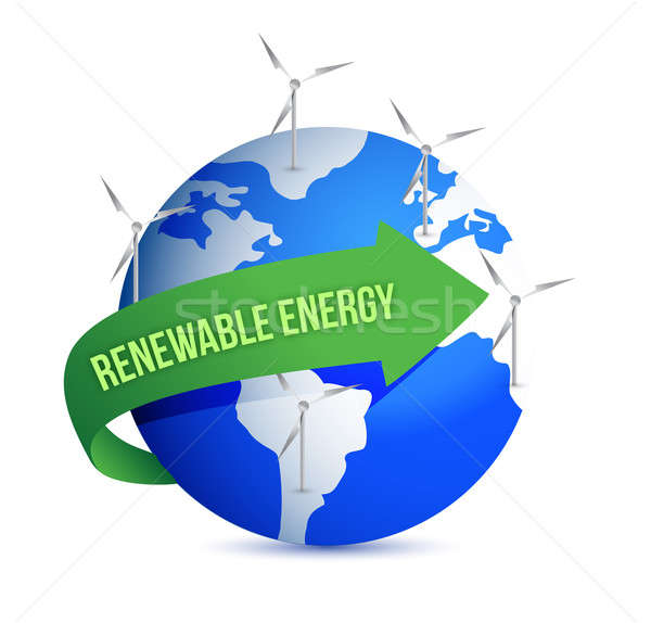 Renewal energy globe concept illustration design over white Stock photo © alexmillos