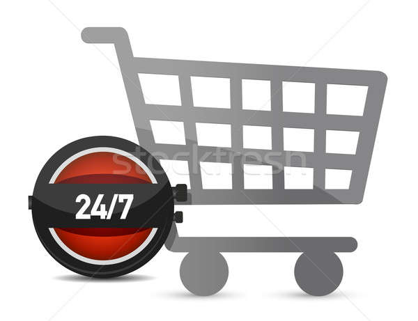 Time to shop illustration concept over white Stock photo © alexmillos