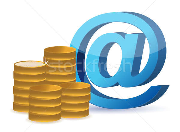 E mail sign and coins  Stock photo © alexmillos