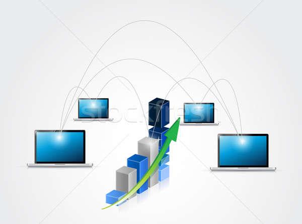 Business network ilustracja projektu Internetu technologii serwera Zdjęcia stock © alexmillos